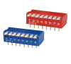 red/blue colro pitch 10 position piano type dip switch data sheet