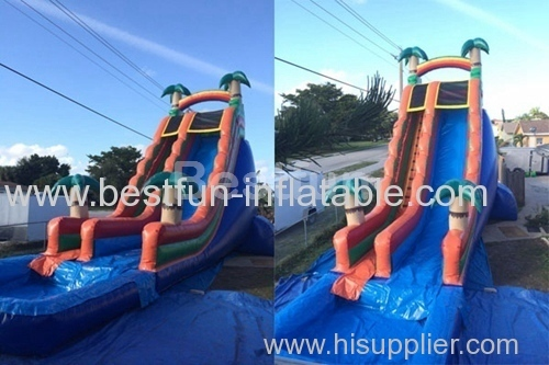 inflatable waterslide blue tropical extreme