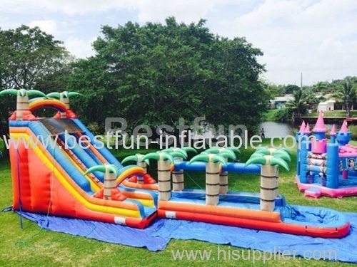 Inflatable Waterslide Red Tropical Long