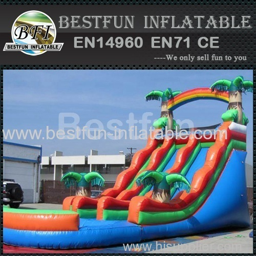 dual tropical inflatable wet slide