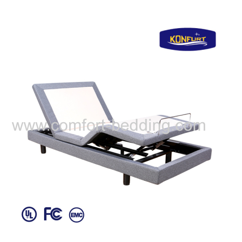 Electric adjustable massage split king size bed with bed skirt usb charging head&foot control with wirless remote
