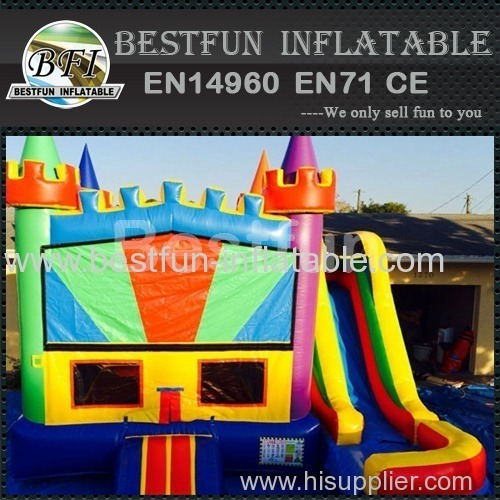 5 in 1 bounce house blue base colorful castle