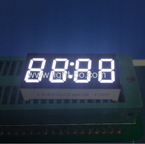 "Ultra white 4 digits 0.36""common anode 7 segment led clock display for STB / Oven Timer"