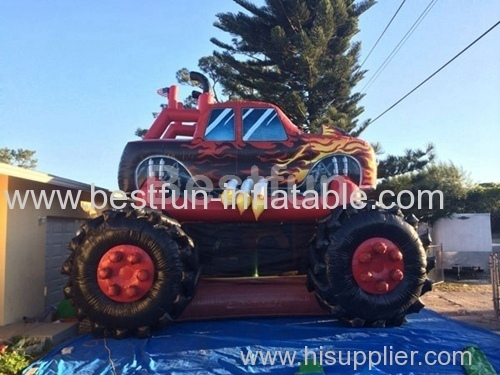 Inflatable bounce house monster truck