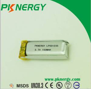 3.7V Lithium Polymer Battery 501235 150mAh AA Lipo Batteries for Bluetooth Headset