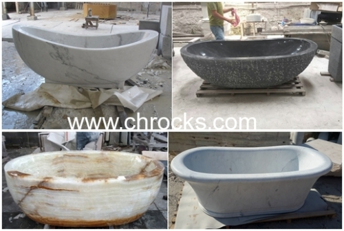 Yellow cream marble bathtub batroom tub