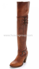 Mulheres buckle thigh high lady boots