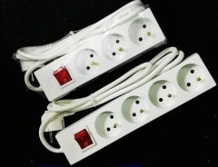 French type power strip 3 way 4 way 2m 3m