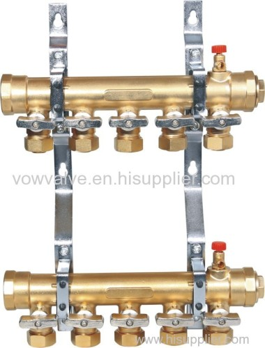 water manifold for under floor heating with brass ball valve