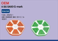 SASO G Mark certificate saudi arabia extension socket 5 way socket