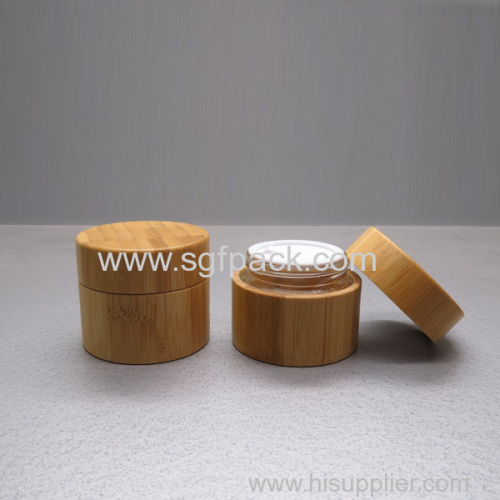 Glass inner bamboo cream jar
