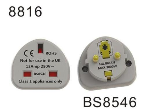 BS8546 13Amp 250V~ Max 3000W UK to EU plug adapter