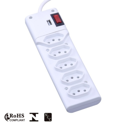 Inmetro Approval Brazilian extension socket with USB Charger and switch