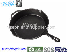 Hiseph cast iron fry pan skillet with pre-season oil surface HS-4 FDA and LFGB certificated