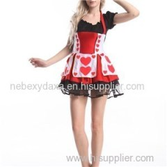 Adult Womens Sexy Queen Of Hearts Tease Fancy Dress Alice In Wonderland Costume
