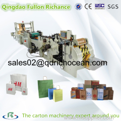 Roll Square Bottom Automatic Shopping Paper Bag Making Machine with handle making