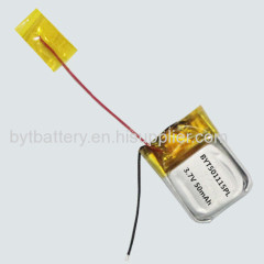 UN38.3 MSDS passed 501115 3.7V 50mAh Li-polymer battery for Bluetooth headset