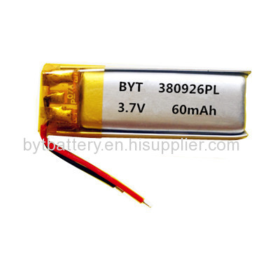 KC Passed 380926 3.7V/60mAh Lithium-polymer Battery for voice recorder