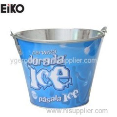 Round Galvanized Ice Bucket With Handle And Bottle Opener