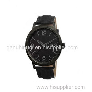 Mens Watches All Black Leather Strap Metal Quartz Mechanism Watch