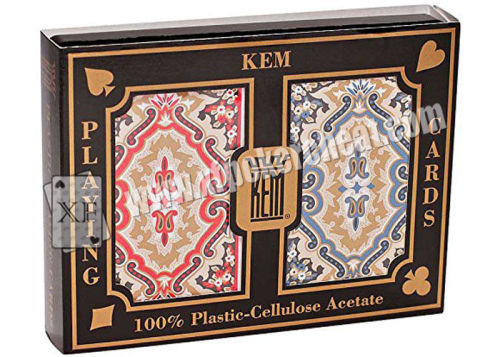 Red / Blue Plastic Narrow Size KEM Plastic Playing Cards For Gambling Accessories