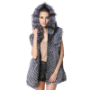 Womens Winter Genuine Fur Long Vests Zipper Closed Fur Sleeveless Overcoats Silver Fox Fur Waistcoats with Hood