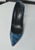 Dark blue snake texture lady high heel dress shoes