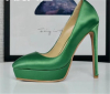 Green satin cloth lady stiletto heel dress shoes