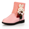 Rabbit decoration PU and knitting kids boots