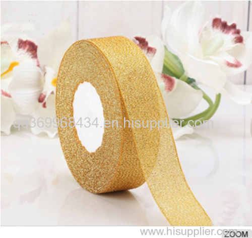 4.5 Gift pull Pom Pom Bow with Crimped metallic ribbon and PP raffia for packing and decoration