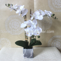 Home Furniture Artificial Phalaenopsis White flowers in marble ceramic pot for Homes/Hotels/Table decor