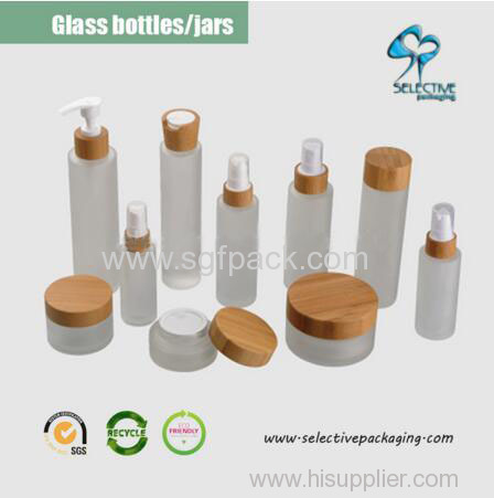HOT 30ml/50ml/100ml/120ml/150ml frosted glass jar wooden lid in stock