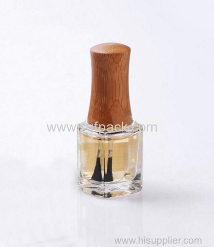 bamboo cap 15mm neck size for 12ml square glass empty nail polish bottle