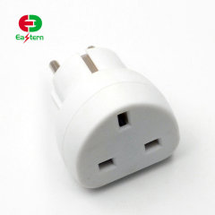 Black/White 13A fused uk to euro plug adapter