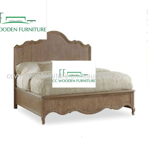 American country style king bed natural wood bed frame