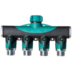 Plastic garden hose 4-way splitter