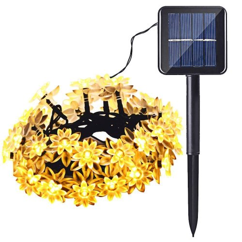 Solar Christmas Lights Lotus Flower 20 LED Waterproof Decoration Lights for Indoor/Outdoor Patio Lawn Garden and Holiday