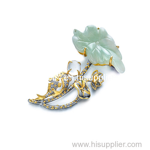 New product for sale silver jewelry gemstone pendant pin jadeite brooch