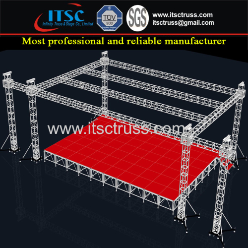 24x12x9m Plat Roofing Truss Stage System with 6 Towers and Spigot Connection