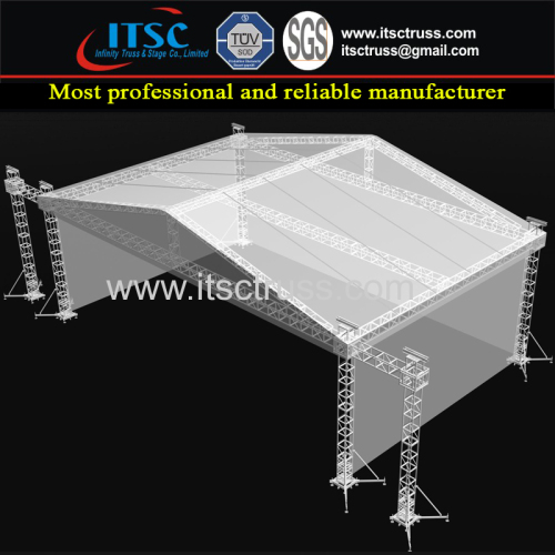 16x16x8M 3 Sides Cover Pyramid Roofing Trussing with 6 Pillars and Sound Wings and Strengthened Trussing