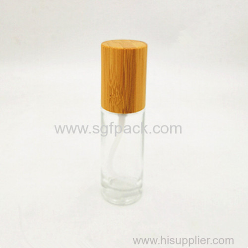 30ml clear frosted glass bottle with bamoo lid