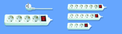 3-6 Way Germany Schuko power strip with surge protection