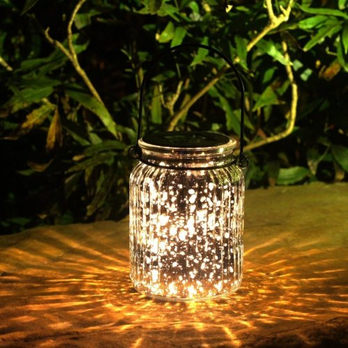 Solar Mercury Glass Jar Hanging Outdoor Light for Garden Decorations