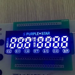 Ultra bright blue custom 7 digit 7 segment led display for temperature control