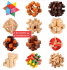 DIY 3D Construction Intelligence Wood Lock Jigsaw Wooden Puzzle Toys Kids Adult Wooden Toy