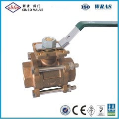 Three- Way Bronze Ball Valve Thread Connection
