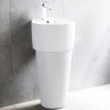 New popular ceramics two piece big floor mounted white pedestal wash hand basin sink