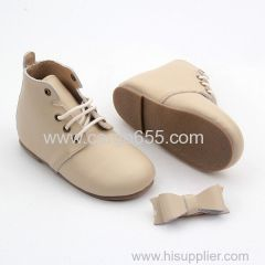 Hard sole kids genuine leather shoes plush children shoes