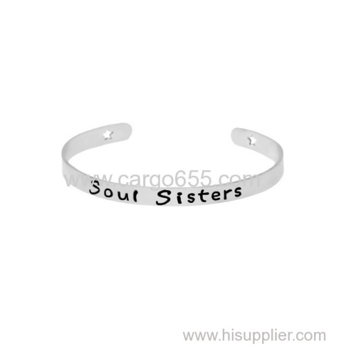 Newest Jewelry Simple Soul Sisters Letter Open Stainless Steel Friendship Bangle&Bracelets For Women