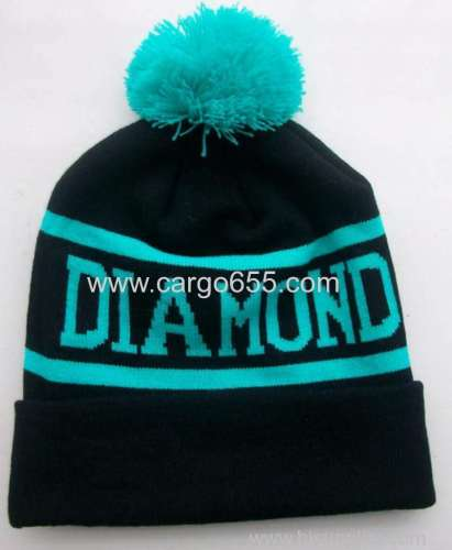 Custom Jacquard Logo Beanies Knit Hat Pompom Ball Womans Winter Knitting Hats With Custom Hats